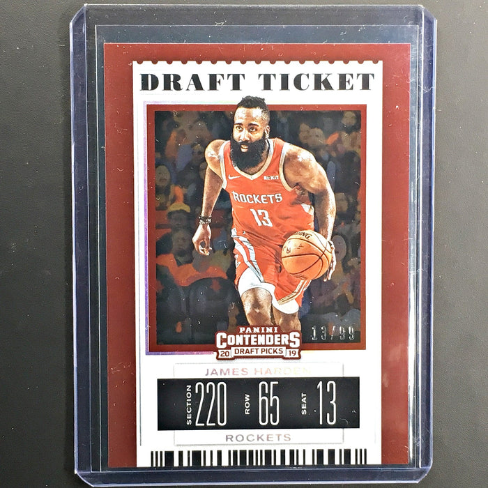 2019 Contenders Draft Picks JAMES HARDEN Draft Ticket 13/99 Jersey # 1/1-Cherry Collectables