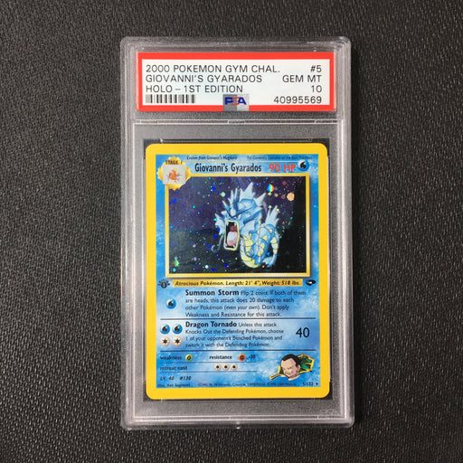 PSA 10 Giovanni's Gyarados - 5/132 - Holo 1st Edition - Gym Challenge-Cherry Collectables