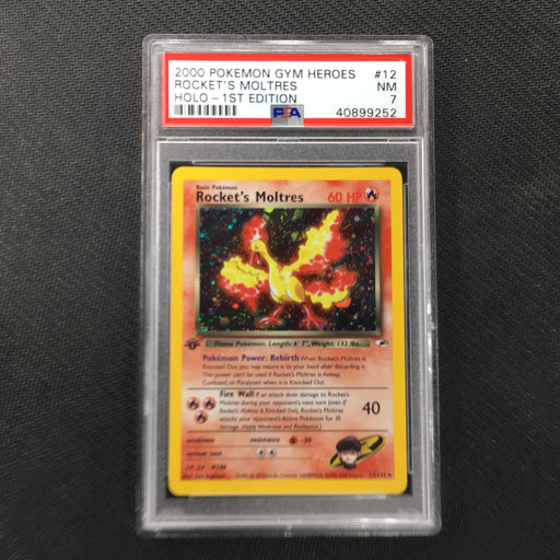 PSA 7 NM Rocket's Moltres - 12/132 - Holo 1st Edition-Cherry Collectables