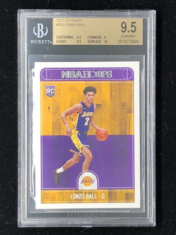 17-18 Hoops LONZO BALL Rookie #252 RC BGS 9.5 - 10 Subs-Cherry Collectables