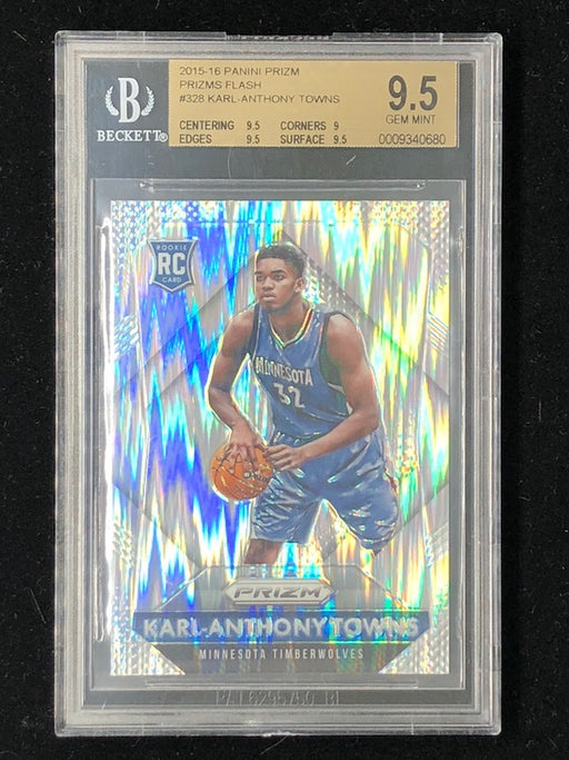 15-16 Prizm KARL-ANTHONY TOWNS Rookie RC Flash Silver BGS 9.5-Cherry Collectables