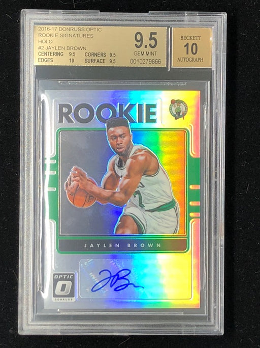 16-17 Donruss Optic JAYLEN BROWN Rookie RC Holo Auto BGS 9.5/10-Cherry Collectables