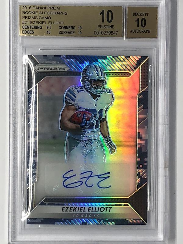 2016 Prizm EZEKIEL ELLIOTT Rookie Autographs RC Camo BGS 10 POP 2-Cherry Collectables
