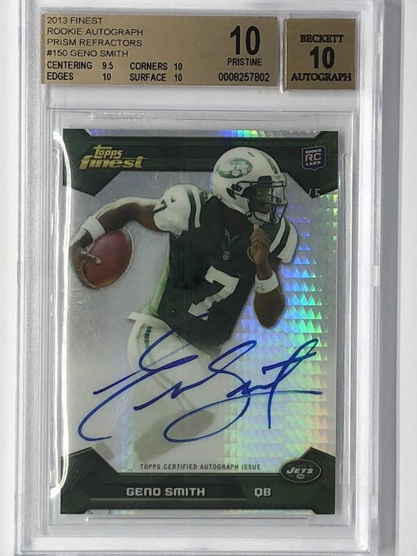 2013 Finest GENO SMITH Rookie Autographs Prism RC 3/5 BGS 10-Cherry Collectables