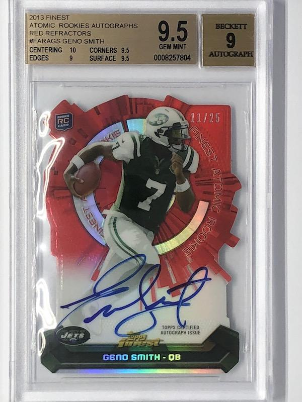 2013 Finest GENO SMITH Atomic Rookies Autographs Red Refractor RC Auto 11/25 BGS 9.5-Cherry Collectables