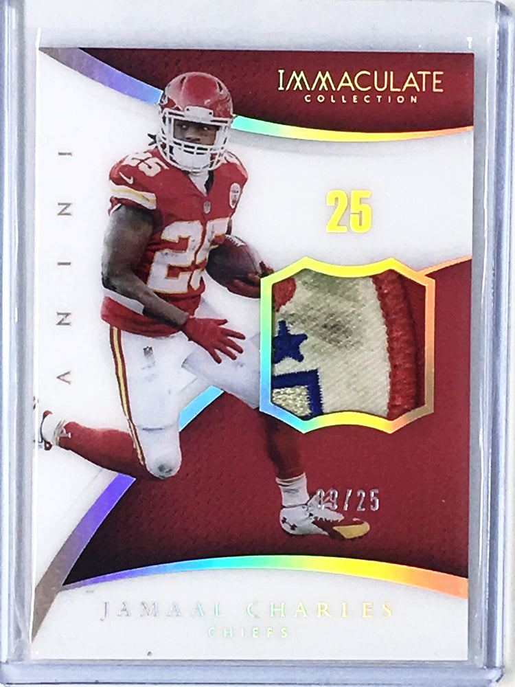 2016 Immaculate JAMAAL CHARLES Acetate Patches Chiefs Logo 9/25-Cherry Collectables
