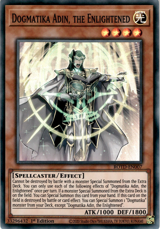 Dogmatika Adin, the Enlightened 3x - ROTD-EN007 - Super Rare - PLAYSET (3)-Cherry Collectables