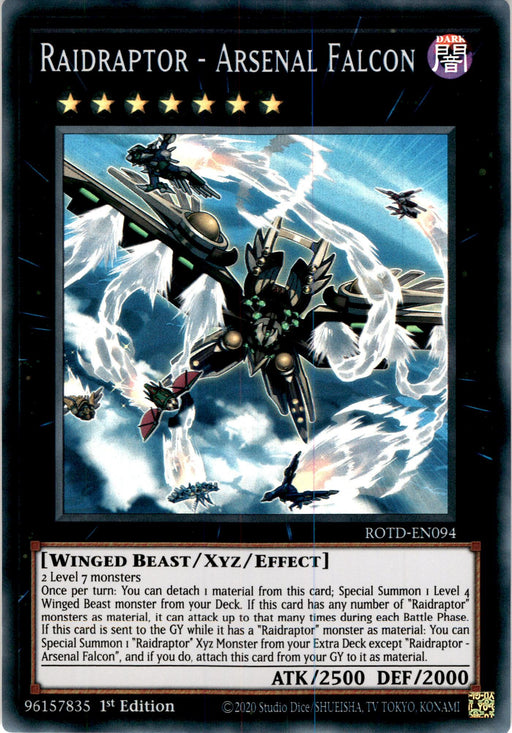 Raidraptor - Arsenal Falcon 3x - ROTD-EN094 - Super Rare 1st Edition - PLAYSET (3)-Cherry Collectables