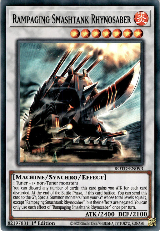 Rampaging Smashtank Rhynosaber 3x - ROTD-EN093 - Super Rare 1st Edition - PLAYSET (3)-Cherry Collectables