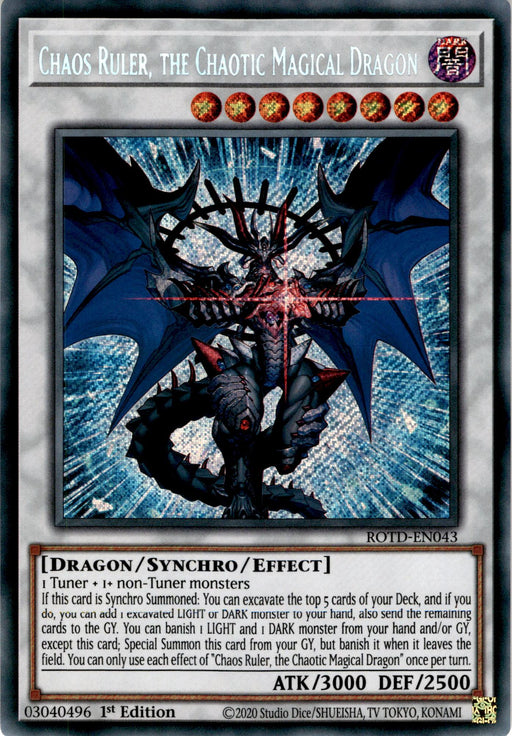 Chaos Ruler, the Chaotic Magical Dragon - ROTD-EN043 - Secret Rare 1st Edition-Cherry Collectables