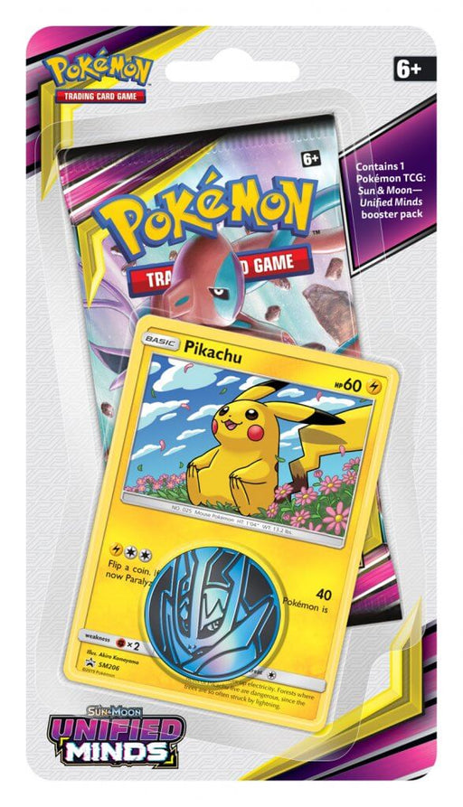 Pokemon TCG Unified Minds Checklane Blister Pack - Pikachu-Cherry Collectables