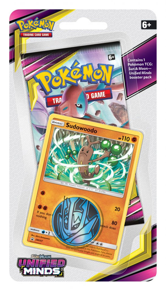 Pokemon TCG Unified Minds Checklane Blister Pack - Sudowoodo-Cherry Collectables