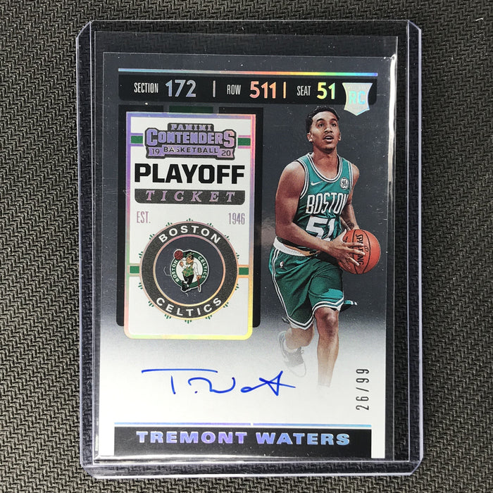 2019-20 Contenders TREMONT WATERS Playoff Ticket Rookie Auto 26/99-Cherry Collectables