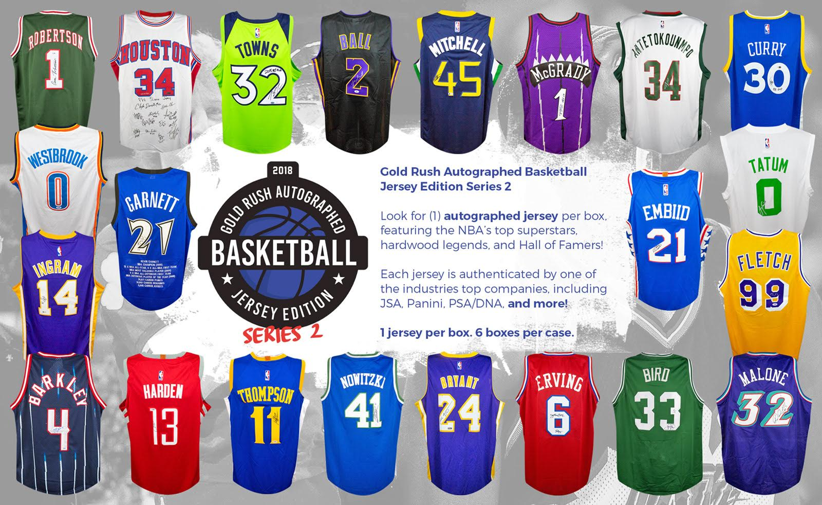 2018 Gold Rush Autographed Basketball Jersey Edition Series 2 6-Box Case-Cherry Collectables