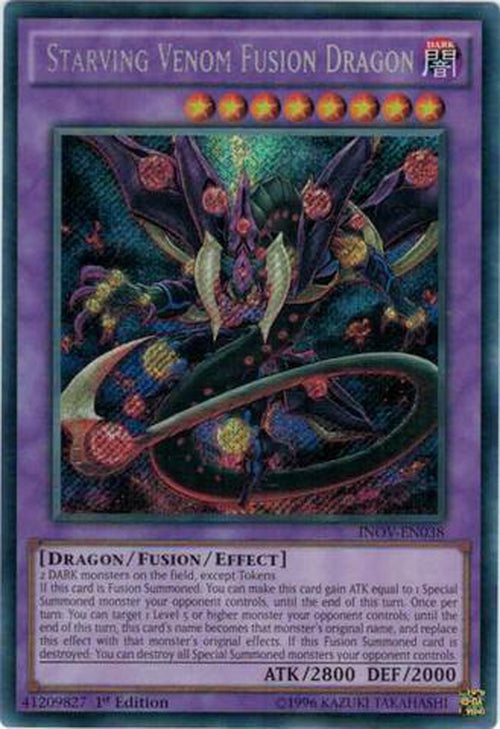 Starving Venom Fusion Dragon - INOV-EN038 - Secret Rare 1st Edition-Cherry Collectables