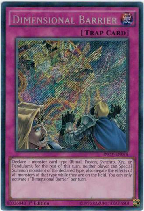 Dimensional Barrier - INOV-EN078 - Secret Rare 1st Edition-Cherry Collectables