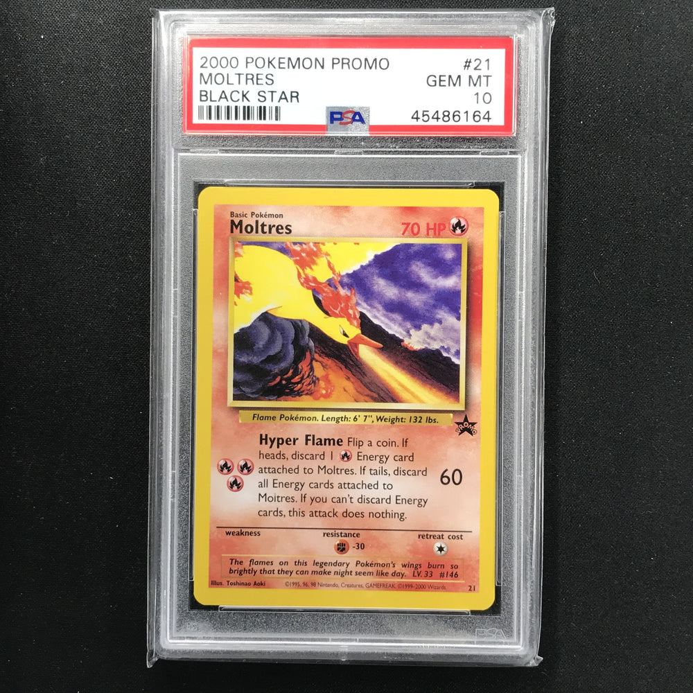 PSA 10 GEM MINT Moltres - 21 - Black Star Promo 164-Cherry Collectables
