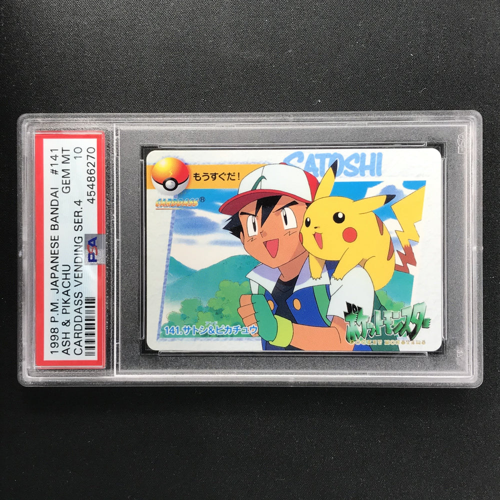 PSA 10 Pokemon 1998 Cardass Vending Series 4 Ash & Pikachu #141-Cherry Collectables