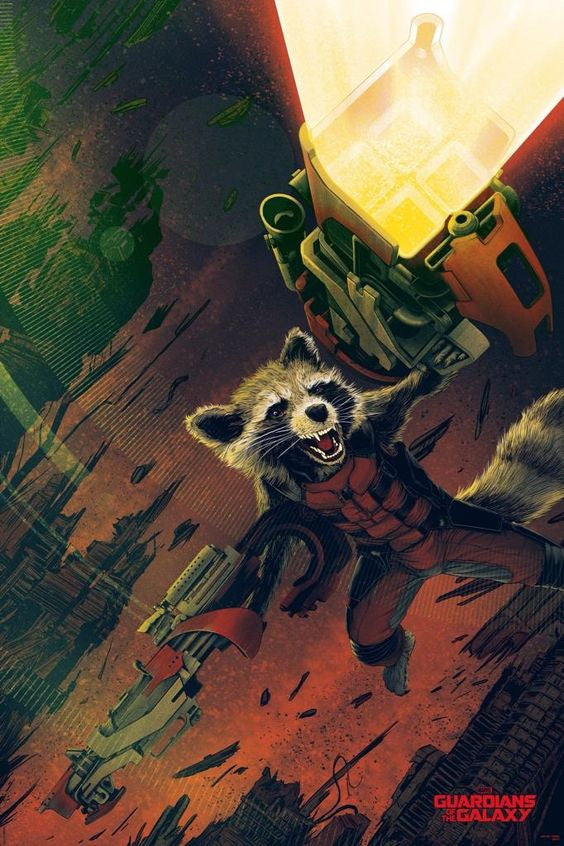 Rocket The Racoon Guardians SDCC Exclusive Mondo Print Variant Signed Tong /150 - Cherry Collectables