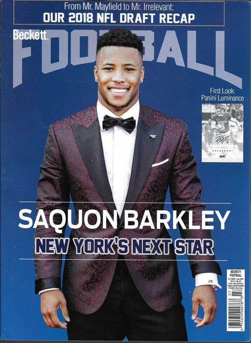 Beckett Football Monthly Priceguide Magazine - SAQUON BARKLEY - July 2018-Cherry Collectables