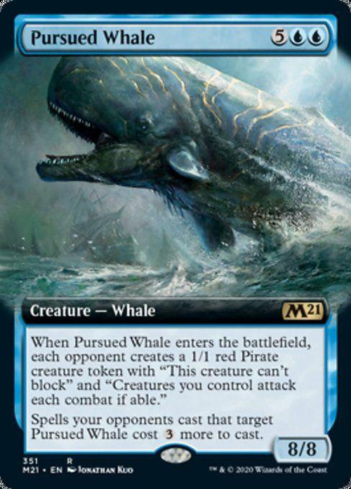 FOIL EXTENDED ART - Pursued Whale 351 - Core Set 2021-Cherry Collectables
