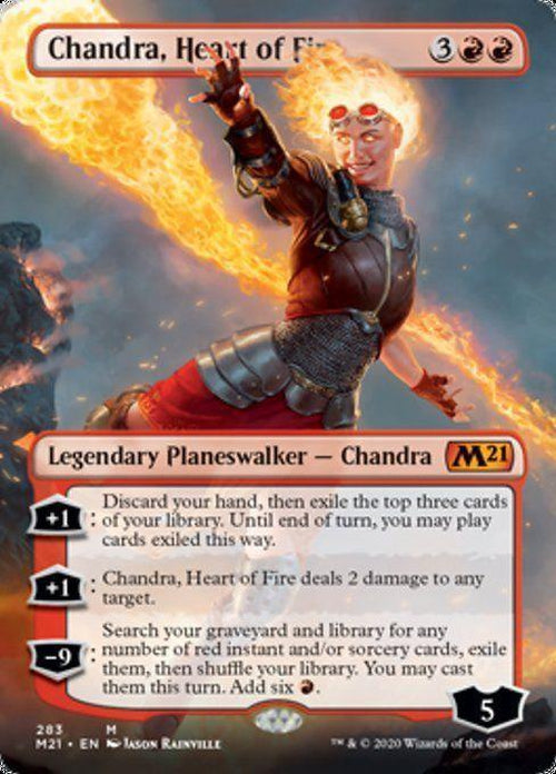 BORDERLESS - Chandra, Heart of Fire 283 - Core Set 2021-Cherry Collectables
