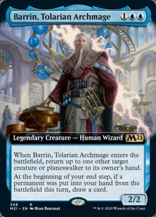 FOIL EXTENDED ART - Barrin, Tolarian Archmage 348 - Core Set 2021-Cherry Collectables