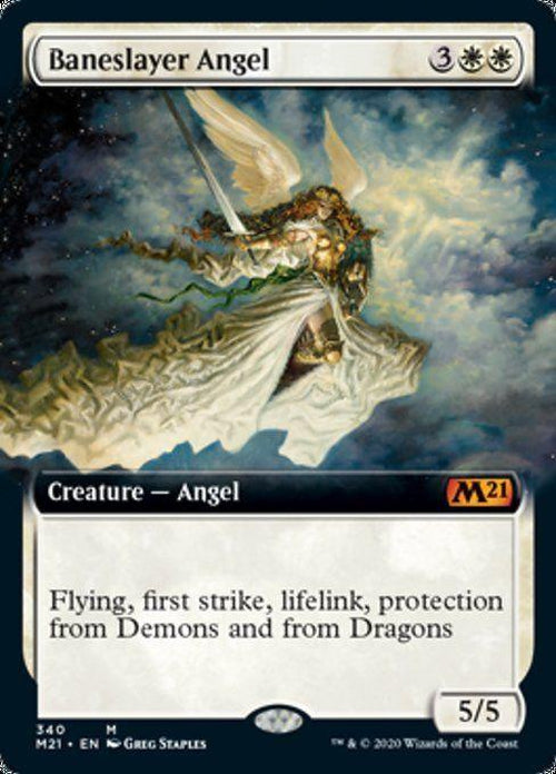 FOIL EXTENDED ART - Baneslayer Angel 340 - Core Set 2021-Cherry Collectables