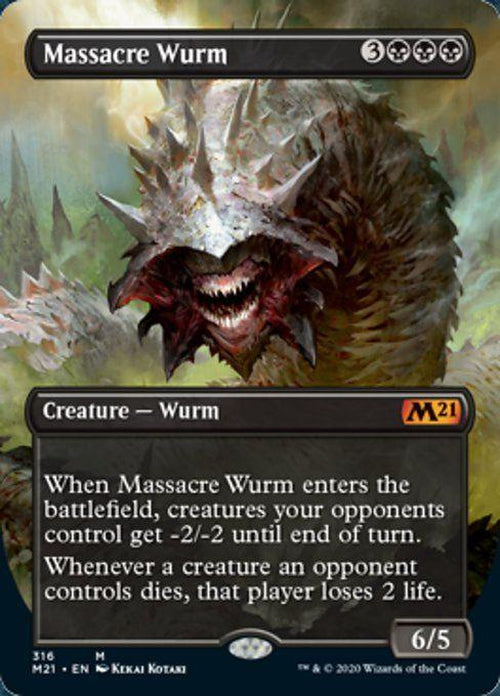 FOIL BORDERLESS - Massacre Wurm 316 - Core Set 2021-Cherry Collectables