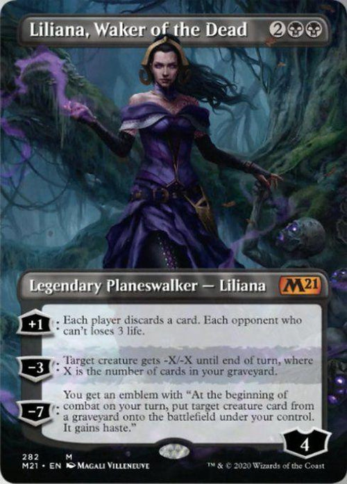 FOIL BORDERLESS - Liliana, Waker of the Dead 282 - Core Set 2021-Cherry Collectables