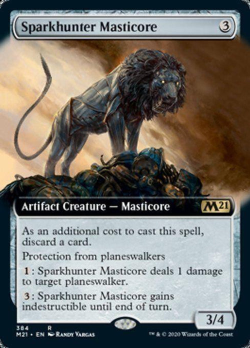 EXTENDED ART - Sparkhunter Masticore 384 - Core Set 2021-Cherry Collectables