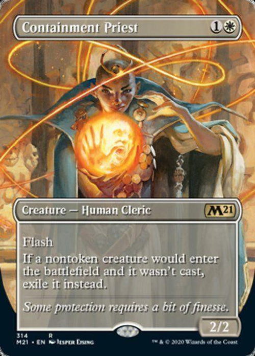 FOIL BORDERLESS - Containment Priest 314 - Core Set 2021-Cherry Collectables