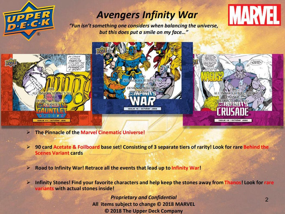 2018 Upper Deck Marvel Avengers Infinity War Hobby Pack-Cherry Collectables