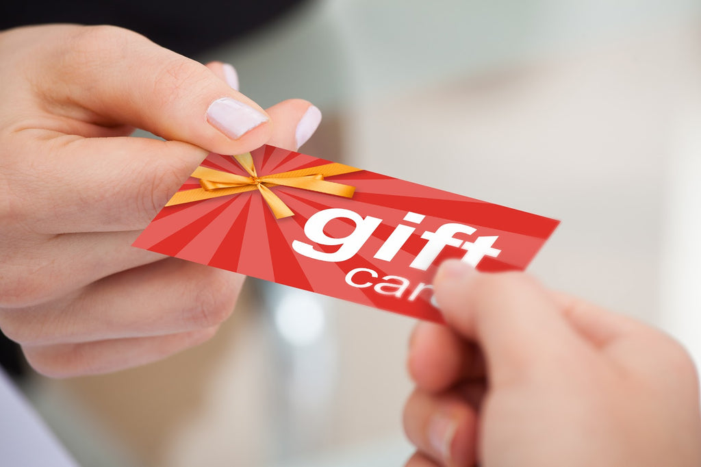 Close-up of a gift card