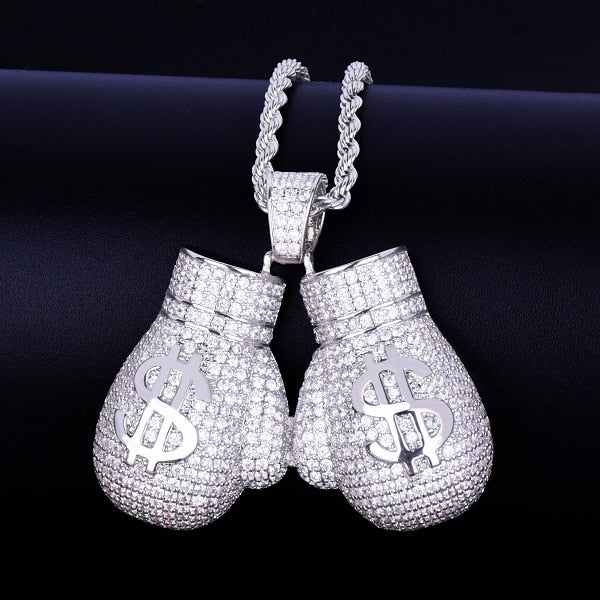 Hands Made Of Money Boxing Gloves Pendant