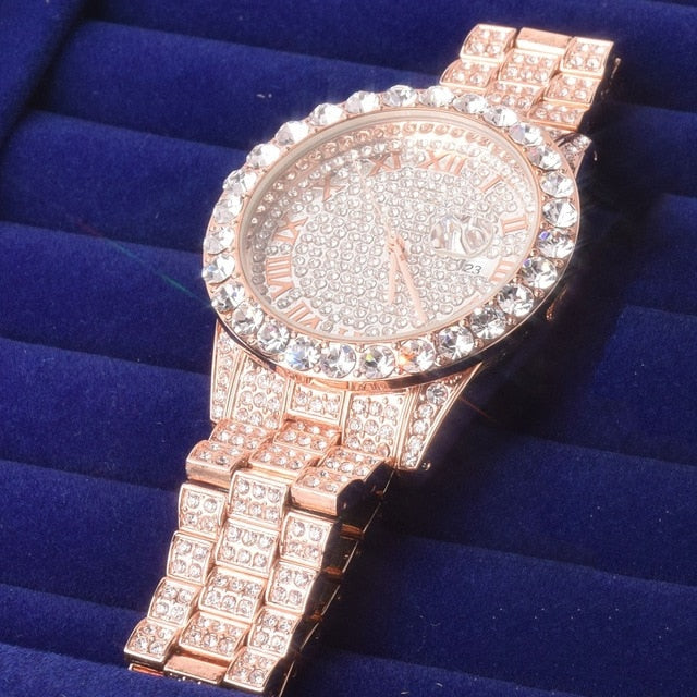 Iced Out Round Luxury Watch