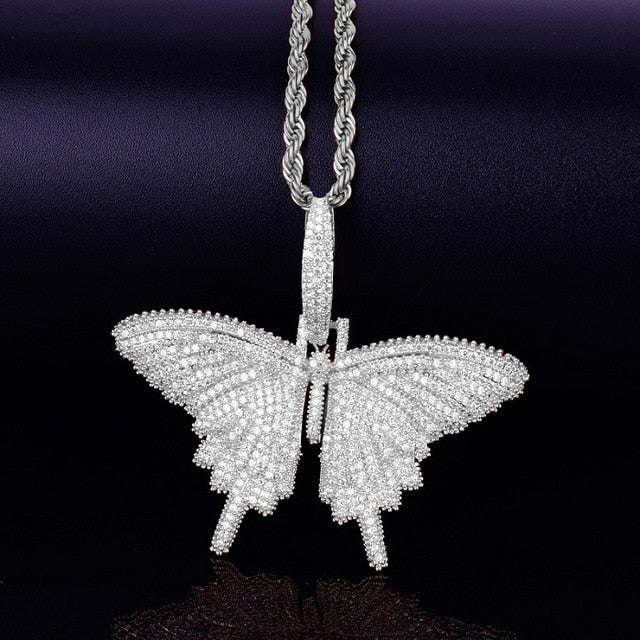 Iced Out Butterfly Pendant