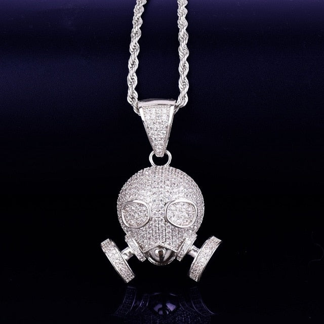 Iced Out Skull Gas Mask Pendant