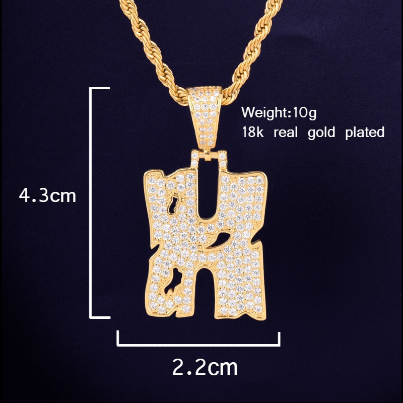 Custom Gold Slash Name CZ Pendant