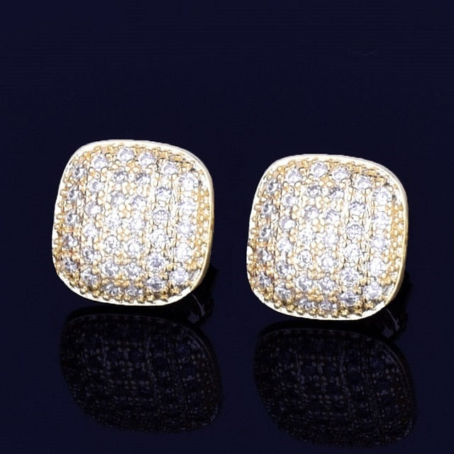10MM Iced Out Square Stud Earrings