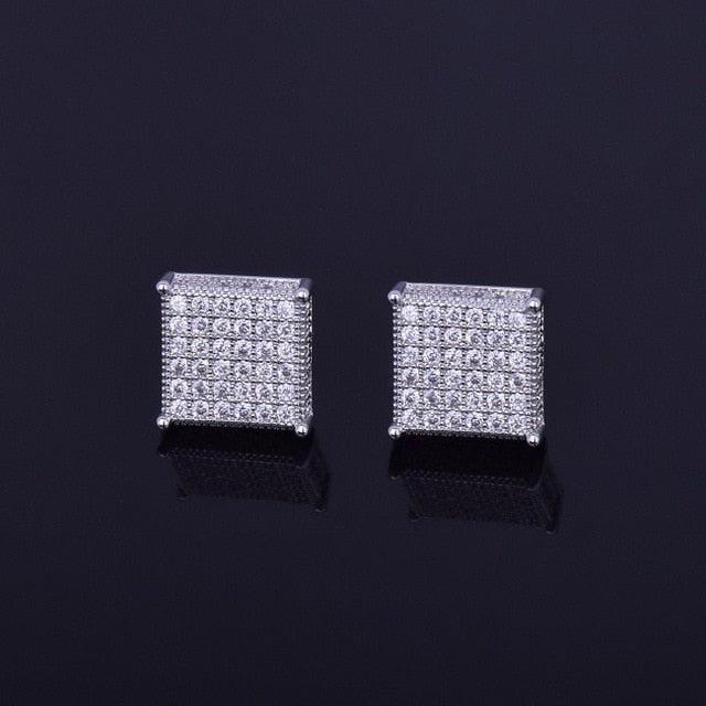 Iced Out 12mm Micro Pave Square Stud Earrings Push-Back