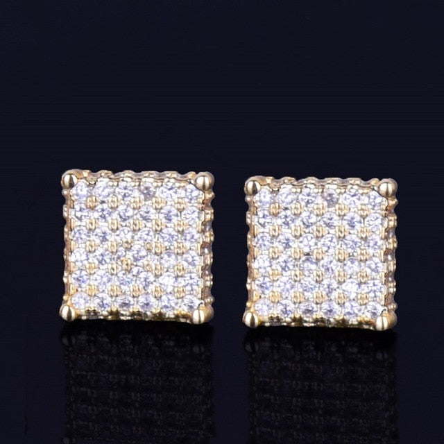 8MM Iced Out Small Square Stud Earrings With Charm Screw Back