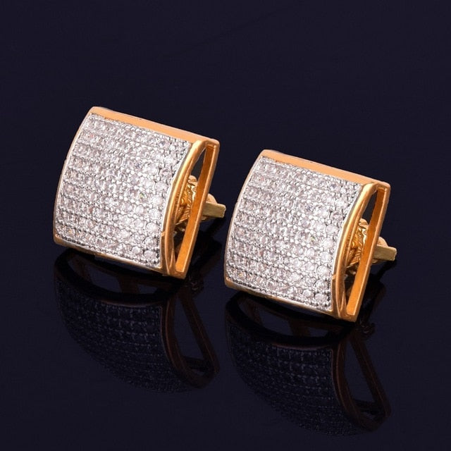 12MM Iced Out Square Stud Screw Back Earrings