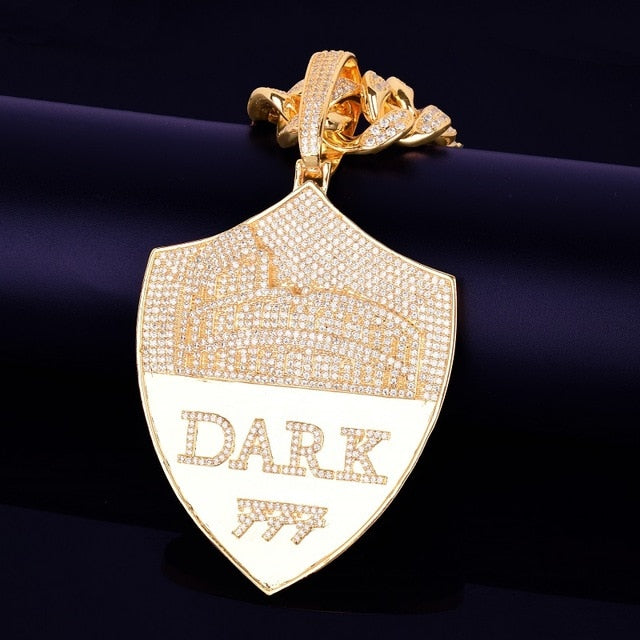 Iced Out Dark Road Shield Pendant