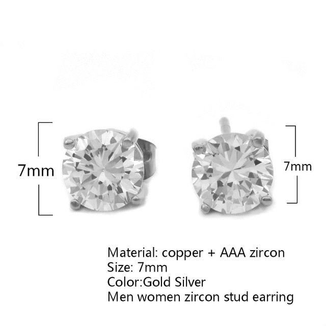 7mm CZ Stud Earrings Push-Back