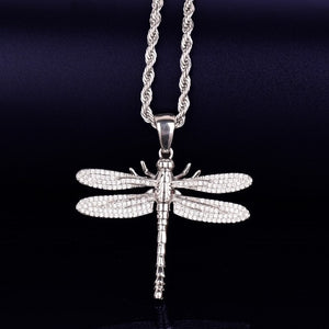 Iced Out Flying DragonFly Pendant