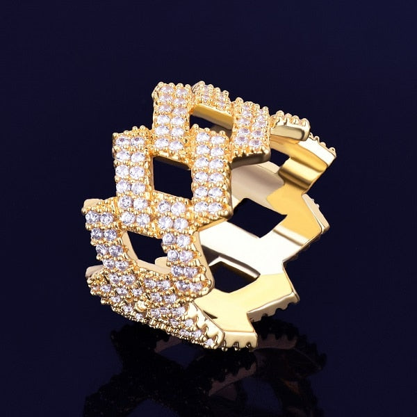 Iced Out 18k Gold Plated Miami Cuban Men's Ring