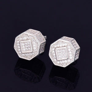 Iced Out 11MM Round Stud Earrings Screw Back