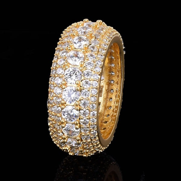 Iced Out 18k Gold Plated 5 Row Men's Ring