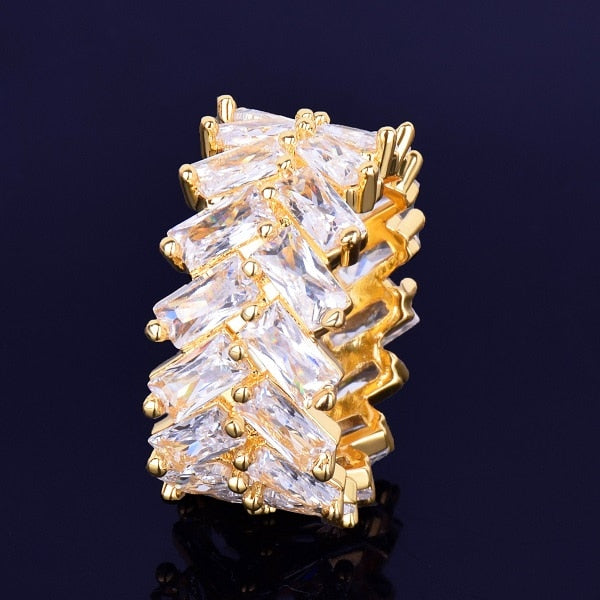 2 Row 18K Gold Plated Baguette Men's Ring
